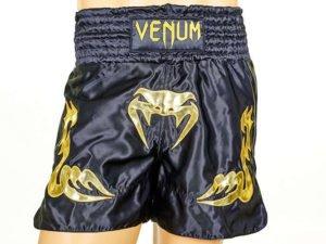 Шорты для тайского бокса и кикбоксинга VNM INFERNO (полиэстер, р-р S-L, черный-золотой) - L (48-50)