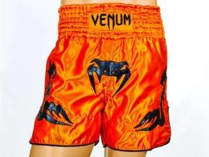Шорты для тайского бокса и кикбоксинга VNM INFERNO (полиэстер, р-р S-L, оранжевый-черный) - L (48-50)