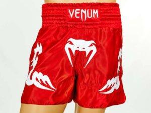 Шорты для тайского бокса и кикбоксинга VNM INFERNO (полиэстер, р-р S-L, красный-белый) - L (48-50)