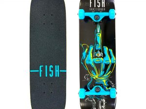 Скейтборд деревянный в сборе из канадского клена 31in FISH ARM (черный-синий)