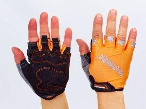 Велоперчатки текстильные MADBIKE (открытые пальцы, р-р S-XL, цвета в ассортименте) - Оранжевый-L