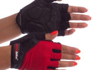 Велоперчатки текстильные MADBIKE (открытые пальцы, р-р S-XL, цвета в ассортименте) - Красный-L
