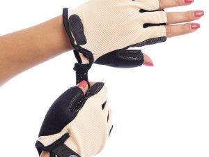 Велоперчатки текстильные SCOYCO ВG02 (открытые пальцы, р-р S-XXL, цвета в ассортимента) - Бежевый-L