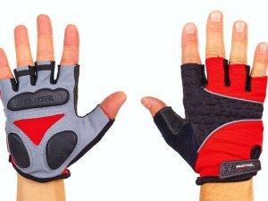 Велоперчатки текстильные SCOYCO ВG03 (открытые пальцы, р-р S-XXL, цвета в ассортименте) - Красный-L
