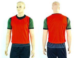 Манишка для футбола мужская цельная (сетка) (PL, р-р 62х56,5см, цвета в ассортименте) - Цвет Красный
