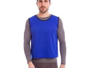 Манишка для футбола мужская цельная (сетка) (PL, р-р 62х56,5см, цвета в ассортименте) - Цвет Синий