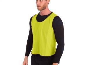 Манишка для футбола мужская цельная (сетка) (PL, р-р 65х55 см, цвета в ассортименте) - Цвет Желтый