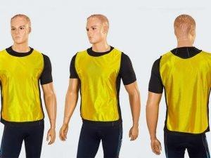 Манишка для футбола юниорская с резинкой (PL, р-р M-62х42+13см, цвета в ассортименте) - Цвет Желтый