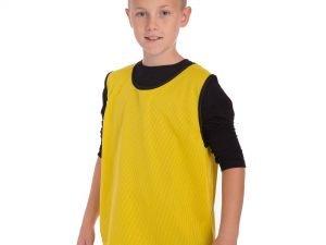 Манишка для футбола юниорская цельная (сетка) (PL, р-р M-50х57см, цвета в ассортименте) - Цвет Желтый