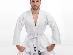 Кимоно для каратэ белое BADBOY (хлопок, р-р 000-6 (110-190см), плотность 240г на м2) - 1 (рост 140)