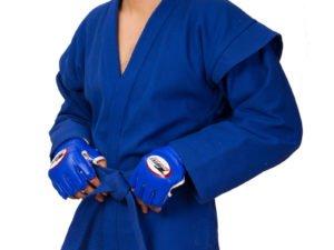 Куртка для самбо (самбовка) синяя MATSA (хлопок плотность 500мг на м2, размер1-6, рост140-190см, пояс в комплекте) - 2 (рост 150)