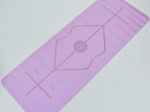 Коврик для йоги с разметкой PU 5мм Record (размер 1,83мx0,68мx5мм, светло-фиолетовый)