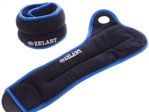 Утяжелители-манжеты для рук Zelart (2 x 1кг) (верх-нейлон, наполнитель-металлические шарики, черный-т.синий, черный-фиолетовый, черный-желтый)