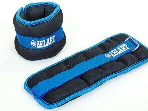 Утяжелители-манжеты для рук и ног Zelart (2 x 2кг) (нейлон,метал.шарики, цвета в ассортименте) - Цвет Голубой