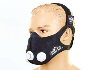 Маска тренировочная Training Mask (3 клапана, неопрен, р-р S-L (от 100-300LBS 45-136кг), черный) - L-250-300LBS (113-136кг)