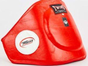 Пояс тренера кожаный TWINS (наполнитель-пенополиуретан, р-р M-XL, красный) - XL