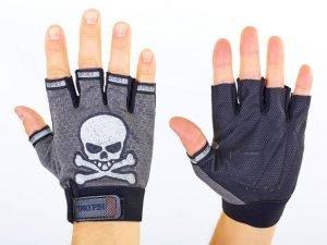 Велоперчатки текстильные Skull (открытые пальцы, р-р L, цвета в ассортименте) - Цвет Серый