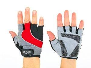 Велоперчатки текстильные Zelart (открытые пальцы, р-р S-L, цвета в ассортименте) - Красный-L