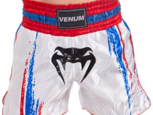 Шорты для тайского бокса и кикбоксинга VNM BANGKOK SPIRIT (полиэстер, р-р S-L, белый-красный) - S (44-46)