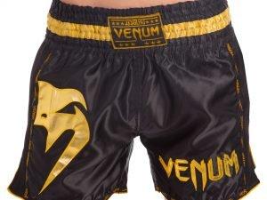 Шорты для тайского бокса и кикбоксинга VNM GIANT (полиэстер, р-р S-L, черный-золотой) - S (44-46)