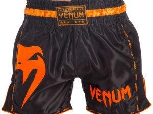 Шорты для тайского бокса и кикбоксинга VNM GIANT (полиэстер, р-р S-L, черный-оранжевый) - S (44-46)