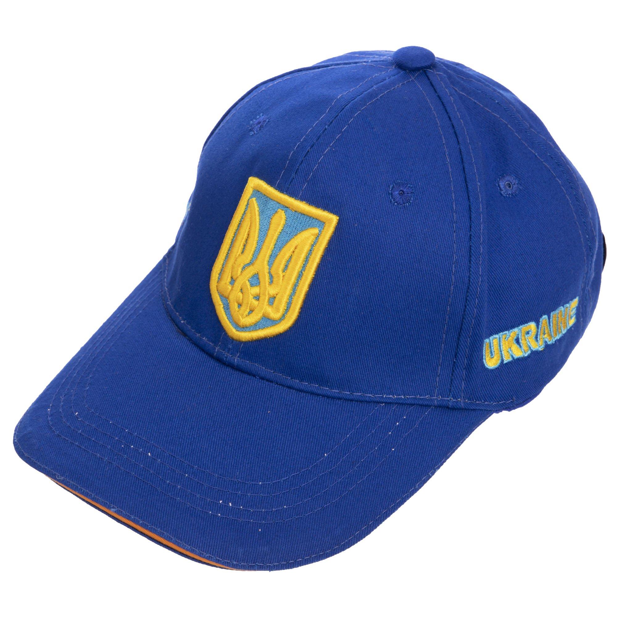 Кепка спортивная (бейсболка) детская Украина (хлопок, размер 54-55см, синий-желтый)