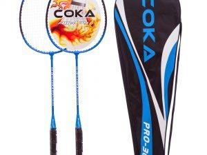 Набор для бадминтона 2 ракетки в чехле COKA (сталь, красный, синий) - Цвет Синий