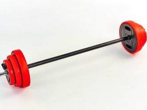 Штанга для фитнеса (фитнес памп) 20кг (гриф l-1,3м,d-25мм, в пластиковой оболочке блины 2x(1,25+2,5+5кг))