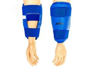 Защита предплечья для тхэквондо WTF BO-4382-B (PU, р-р S-XL, синий, крепление на липучках)