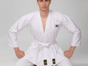 Кимоно для каратэ профессиональное белое MIZUNO (хлопок-плотность 210г на м2, размер 0-5, рост-130-180см) - 0 (рост 130)