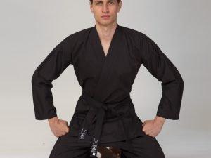 Кимоно для каратэ черное MATSA (хлопок-плотность 240г на м2, размер 0-7, рост-130-200см) - 1 (рост 140)