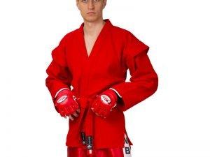 Кимоно для самбо красное (хлопок-плотность 500г на м2, размер 1-6, рост-140-190см) - 1 (рост 140)