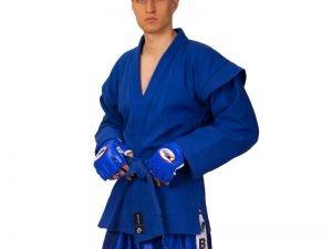 Кимоно для самбо синее (хлопок-плотность 500г на м2, размер 1-6, рост-140-190см) - 1 (рост 140)