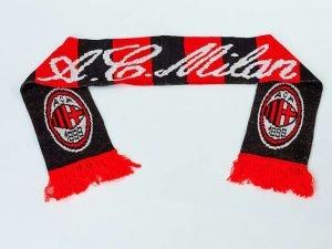 Шарф зимний для болельщиков двусторонний AC Milan (полиэстер, р-р 1,45м x 0,15м, красный, че