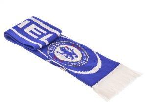Шарф зимний для болельщиков двусторонний Chelsea (полиэстер, р-р 1,45м x 0,15м, синий)