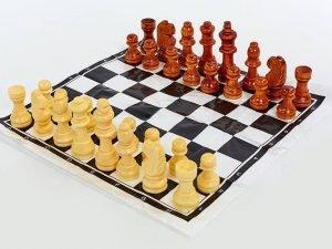 Шахматные фигуры деревянные с полотном для игрAHM (дерево, h пешки-2,6см)