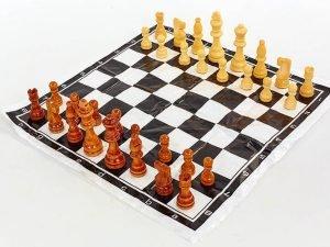 Шахматные фигуры деревянные с полотном для игр (3104) (дерево, h короля-8см)