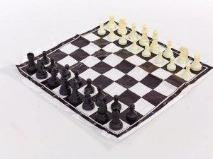 Шахматные фигуры пластиковые с полотном для игрAHM (пластик, h пешки-2см)