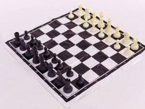 Шахматные фигуры пластиковые с полотном для игр (пластик, h пешки-2,6см)