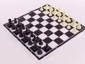 Шахматные фигуры пластиковые с полотном для игр (пластик, h пешки-3,3см)