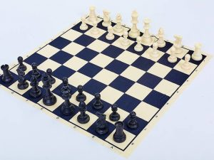 Шахматные фигуры пластиковые с тканевым полотном для игр (пластик, h пешки-5см)