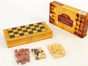 Шахматы, шашки, нарды 3 в 1 бамбуковые (фигуры-дерево, р-р доски 30×30см)