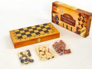 Шахматы, шашки, нарды 3 в 1 бамбуковые (фигуры-дерево, р-р доски 35×35см)