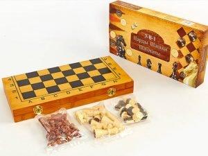 Шахматы, шашки, нарды 3 в 1 бамбуковые (фигуры-дерево, р-р доски 40×40см)