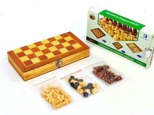 Шахматы, шашки, нарды 3 в 1 деревянные (фигуры-дерево, р-р доски 24см x 24см)