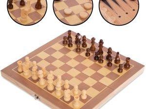 Шахматы, шашки, нарды 3 в 1 деревянные (фигуры-дерево, р-р доски 30см x 30см)