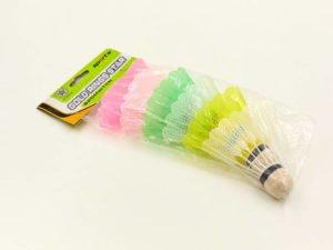 Воланы для бадминтона пластиковые (6шт) в пакете (цветные)