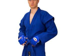 Кимоно для самбо синее (хлопок-плотность 500г на м2, размер 1-3, рост-140-160см) - 1 (рост 140)