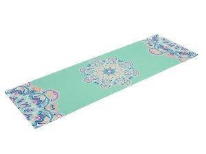 Коврик для йоги Замшевый каучуковый двухслойный 3мм Record (размер 1,83мx0,61мx3мм, мятный, с цветочным принтом)