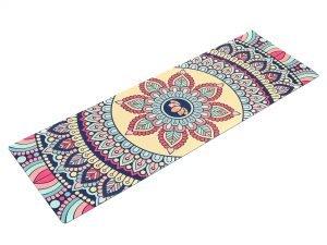 Коврик для йоги Замшевый каучуковый двухслойный 3мм Record (размер 1,83мx0,61мx3мм, бежевый, с цветочным принтом)